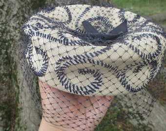 Vintage 1960s Pill Box Hat Navy Blue and Natural Fiber