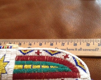 authentic american indian knife sheath beaded artwork leather old coins