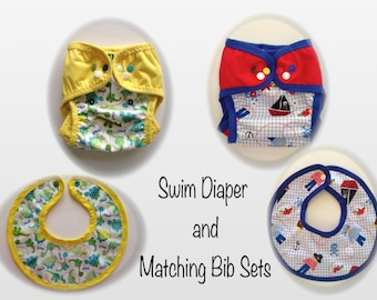 Swim Diapers and Bib Sets - Reusable Swim Diapers with FOE and leg gussets (M-L).  Matching Reversible Bibs.  Ready to ship today!