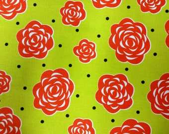 Tippy Toes by Dana Brooks for Henry Glass and Co. - Mums - Red - 1/2 yard cotton quilt fabric