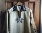 Ladies vintage ethnic tunic dress gold black embroidered top  hippie clothing folk dresses tops tees ladies Dolly Topsy Etsy UK