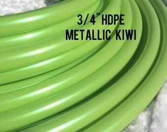 "Metallic kiwi 3/4"" HDPE Dance & Exercise Hula Hoop COLLAPSIBLE push button - irridescent green colorado kind"
