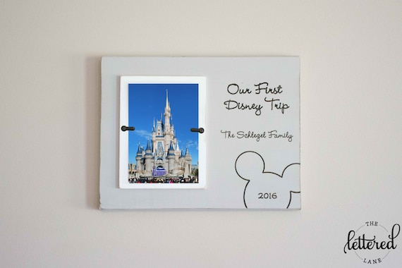 Disney Picture Frame, First trip to disney, Personalized Photo Frame, Disney Vacation Frame, Cinderella's castle frame