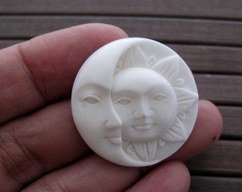 30 mm  quality Carved buffalo bone   crescent and sun face , Jewelry making Supplies S5889