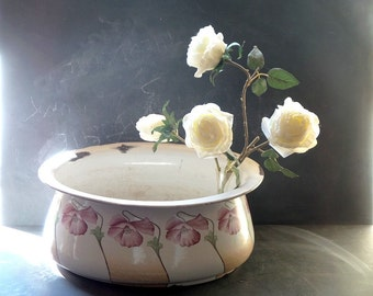 Antique Oversized  Oval Enamel Planter, French large bowl . Shabby chic decor indoor or outdoor planter center piece