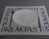 Placemat set of 2 handmade fabric placemats off white royal blue print