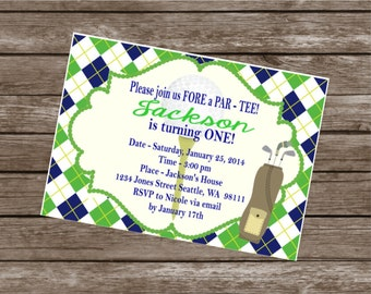 PREPPY ARGYLE GOLF Happy Birthday Party or Baby Shower Invitations Set of 12 {1 Dozen} - Party Packs Available