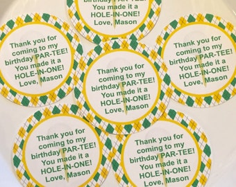 PREPPY ARGYLE GOLF Theme Birthday or Baby Shower Favor Tags or Stickers 12 {One Dozen} - Yellow Green - Party Packs Available