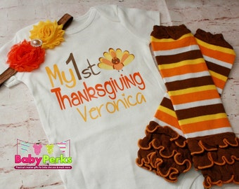 BABY girl Thanksgiving outfit- Baby Girl Fall Outfit  - Baby girl photo outfit - thanksgiving legwarmers, photo prop ,