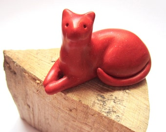 Chilli - Little red lounging cat handmade polymer clay sculpture decoration OOAK figurine