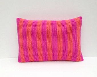 Striped fushia and coral crochet and fabric cushion/pillow