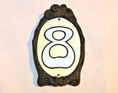 Number 8 Vintage Address Sign Plaque Wall or Door Reflective Gray and White