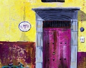 "Original painting of pink door in San Miguel de Allende Mexico with wink old bicycle yellow wall  11 ""x 14"""