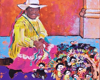 Original art painting Mexican woman with traditional dolls street vendor in San Miguel de Allende no frame needed