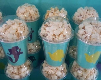8 Little Mermaid popcorn boxes, containers, party favors with clear dome lid