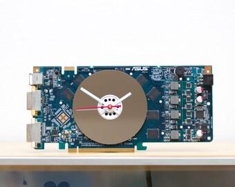 Desk clock - geeky office clock - Recycled video card clock - blue circuit board c5815