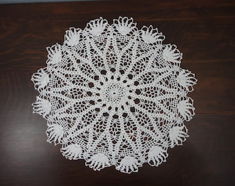Vintage Picot Edged Hand Crocheted Doily - 17""