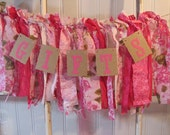 Tattered Fabric and Lace Garland Gifts Banner Hot Pink Shabby Chic Vintage Barn Wedding Baby Shower Romantic Praire