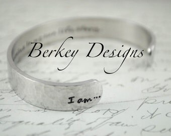 Affirmation -I Am the Heroine in My Own Life Story Secret Message Hand Stamped Bracelet- Personalized Bracelet