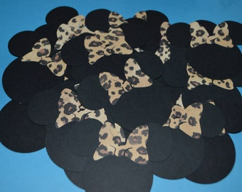 """Minnie Mouse Die Cuts (25) 3"""" with Leopard Bows"""