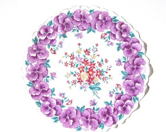 Vintage Round Purple Pansy Border Hankie Red and Yellow Nosegay Bouquet Center Scalloped Edges