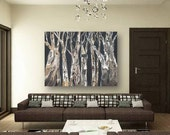VERY LARGE dining room wall art Oversized Extra large living decor Canvas print tree trunk painting gray black white artwork decor office