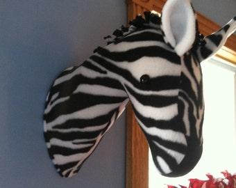 Zebra Elephant giraffe head mount nursery playroom decor fleece