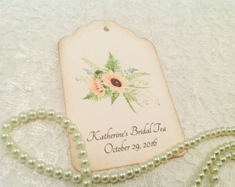 Personalized Bridal Favor Tags-Sunflower Floral Tea Party Shower Wish Gift Tags-Set of 12