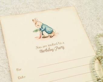 Peter Rabbit Birthday Invitations-Boy or Girl First Birthday Party-Blank Invitations-Set of 10