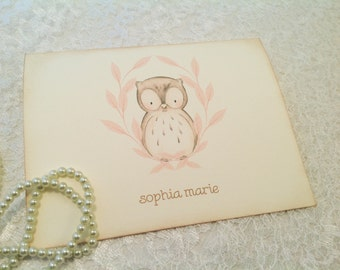 Thank you Note Cards-Pink Owl Cards-Custom Stationery-Set of 10