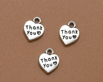 12 Thank You Heart Charms Double Sided Antique Silver 12 x 10 mm U.S Seller - ts974