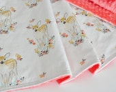 Baby Girl Blanket, Coral Minky Back Baby Blanket, Fawn in Tulip