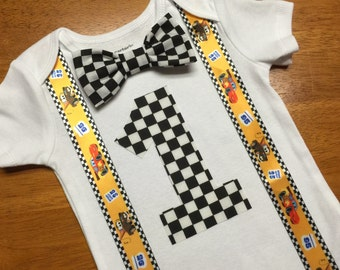 READY TO SHIP! Cars Birthday Number Shirt with Cars Suspenders, Boys Birthday Shirt Checkered Flag Bow Tie, Racecar Party Shirt,