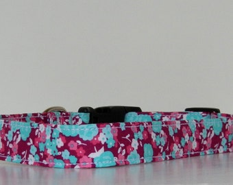 Floral Pink Purple Blue Dog Collar Wedding Accessories Spring Summer Collar Made to Order