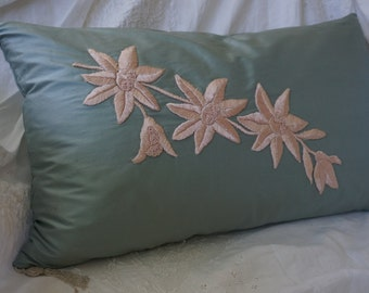 Pillow cover, vintage antique silk applique pillow,