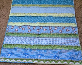 Baby Blue and Green rag Quilt