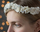 Bridal Flower Crown ~ Made from vintage millinery flowers, and gorgeous aurora borealis crystal beads
