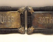 Vintage Antique Set of Coffin Plaques / Mother / Father / Real / Used / Funeral / Creepy / Macabre