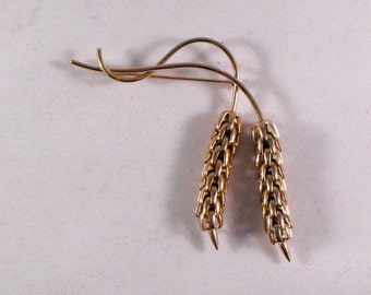 Vintage Signed Napier Dangling Wheat Brooch Gold 1960's