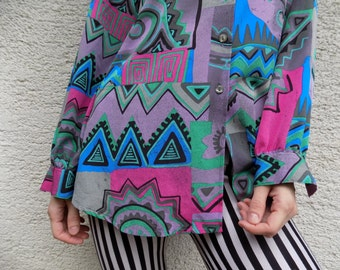 DISCOUNT - Psychedelic 70's Colorful retro shirt