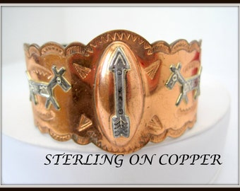 Native American Copper Cuff -  Sterling Inlaid Symbols -  Copper Bracelet