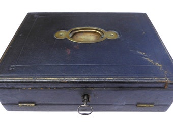 Edwardian Portable Black Leather Writing Box with Inkwell & Key Made in England Vintage Office Writing Slope Dipping Pen