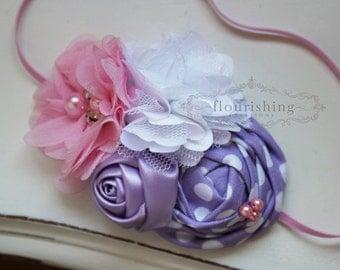 Lavender and Pink flower headbands, spring headbands, newborn headbands, photography prop, pink and purple headbands