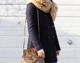 Vintage 1970s Boho Chic Italian Leather Handbag With Snakeskin Flap Medium Size Bag