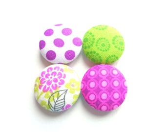 Button Magnets - Purple Magnets - Green Magnets - Polka Dot Magnets - Flower Magnets - Fridge Magnets - Teacher Gift - Student Gift