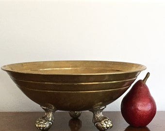 Vintage Brass Clawfoot Bowl Claw Feet Footed Brass Centerpiece Bowl Paris Apartment Decor
