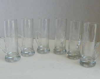 s/6 Etched Floral Crystal Irish Coffee Glasses with Handles
