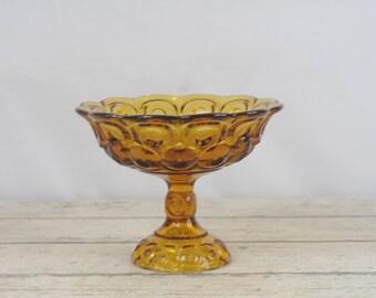 Vintage Amber Glass Pedestal Bowl