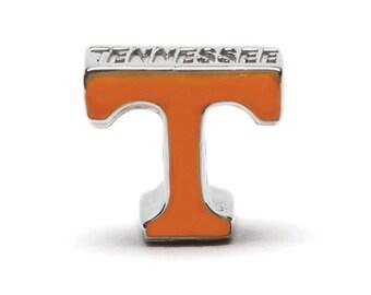 "Tennessee Orange ""T"" Bead Charm Fits Pandora - Stainless Steel"