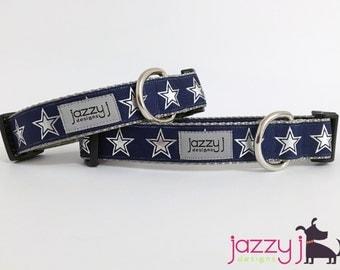 Dallas Cowboys Navy Blue and Silver Star Dog Collar